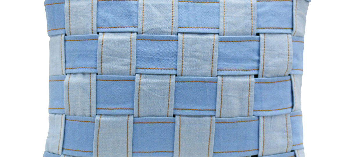 Home Decor. Eco_friendly_handloom_denim_chess_board_cushion_cover