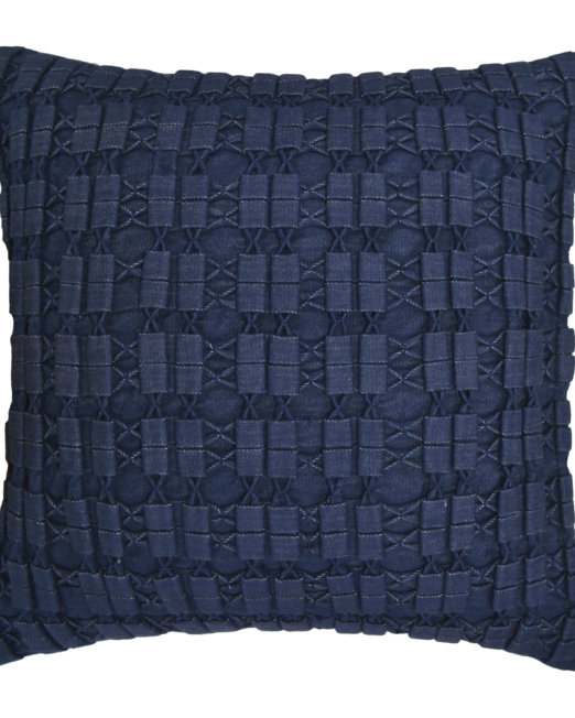 handloom_denim_cushion_cover_smocking_boxesNcrosses_navy_blue_front_view
