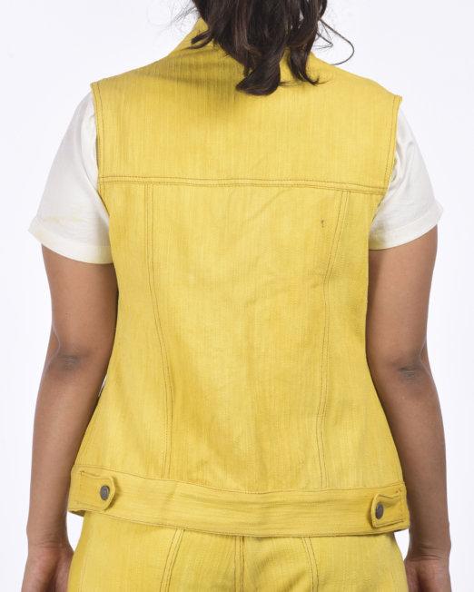 Eco-friendly Khadi Denim Sleeve-less Trucker Jacket Marigold Extract Fabric Dye - Back