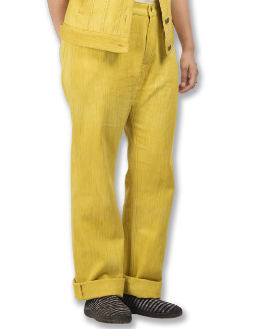Eco-friendly Hand-stitched Khadi Denim Jeans Marigold Extract Fabric Dyed
